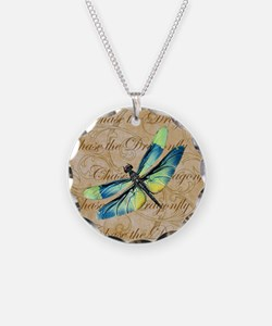 Blue & Green Dragonfly Collage Necklace