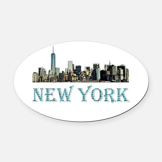 New York City Oval Car Magnet