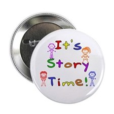 "Story Time w Stick Kids 2.25"" Button"
