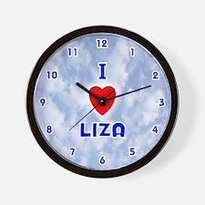 I Love Liza (Blue) Valentine Wall Clock