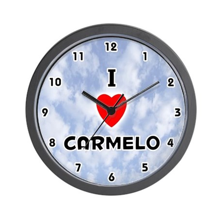 I Love Carmelo (Black) Valentine Wall Clock