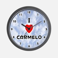 I Love Carmelo (Black) Valentine Wall Clock