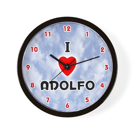 I Love Adolfo (Red/Blk) Valentine Wall Clock