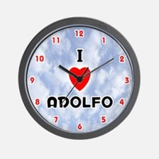 I Love Adolfo (Red/Blk) Valentine Wall Clock