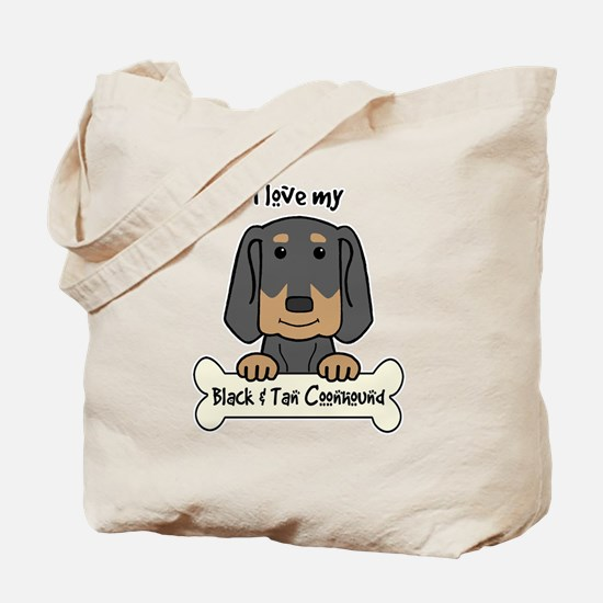 Cute Black and tan coonhound Tote Bag