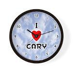 I Love Cary (Black) Valentine Wall Clock