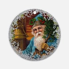 Vintage Victorian Father Christmas in Blue Round O