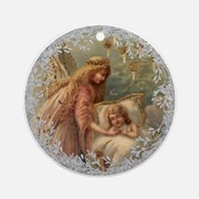 Vintage Victorian Christmas Angel and Child Round