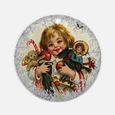 Vintage Victorian Christmas Baby with Toys Round O