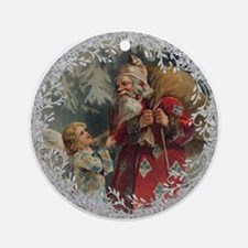 Vintage Victorian Father Christmas and Angel Round