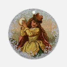 Vintage Victorian Christmas Girl with Snowball Rou