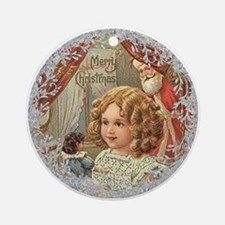 Vintage Victorian Christmas Girl with Doll Round O