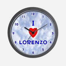 I Love Lorenzo (Blue) Valentine Wall Clock