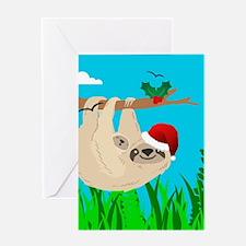 santa sloth Greeting Cards