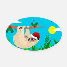 santa sloth Oval Car Magnet