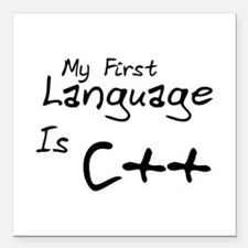 "First Language Square Car Magnet 3"" x 3"""