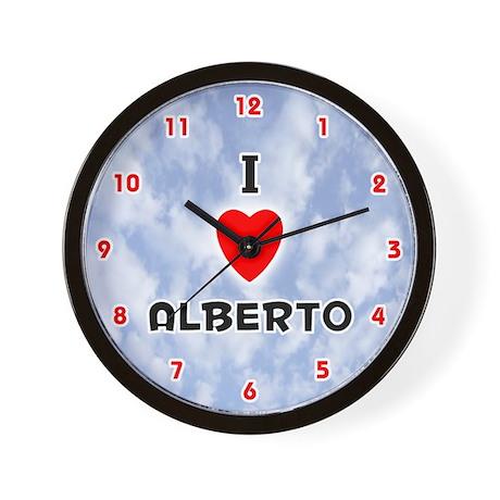 I Love Alberto (Red/Blk) Valentine Wall Clock