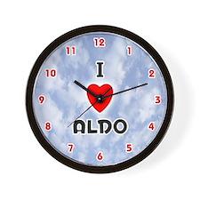 I Love Aldo (Red/Blk) Valentine Wall Clock