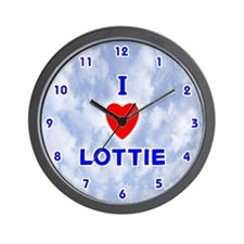 I Love Lottie (Blue) Valentine Wall Clock