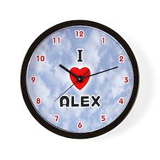 I Love Alex (Red/Blk) Valentine Wall Clock
