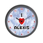 I Love Alexis (Red/Blk) Valentine Wall Clock