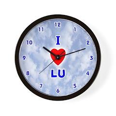 I Love Lu (Blue) Valentine Wall Clock