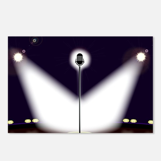 Comedian microphone Postcards (Package of 8)