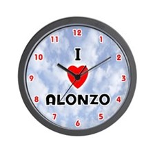 I Love Alonzo (Red/Blk) Valentine Wall Clock