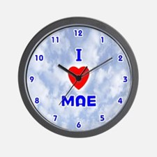 I Love Mae (Blue) Valentine Wall Clock