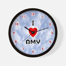 I Love Amy (Red/Blk) Valentine Wall Clock