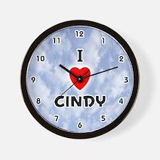 I Love Cindy (Black) Valentine Wall Clock