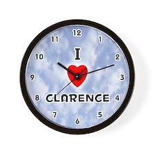 I Love Clarence (Black) Valentine Wall Clock