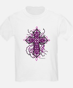 Gothic Celtic Cross Hot Pink T-Shirt