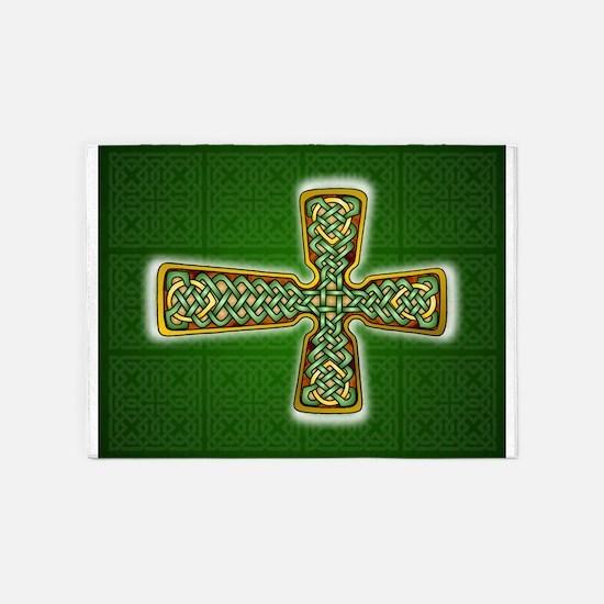 Teardrop Celtic Cross Green 5'x7'Area Rug