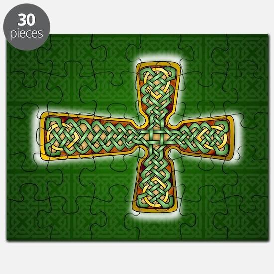 Teardrop Celtic Cross Green Puzzle