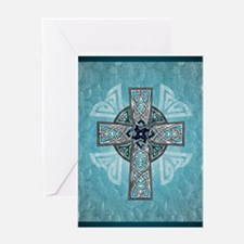 Traditional Celtic Cross Turquoise Greeting Cards