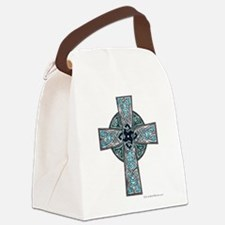 Traditional Celtic Cross Turquoise Canvas Lunch Ba