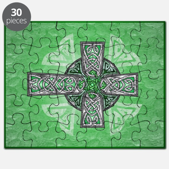 Traditional Celtic Cross Green Puzzle