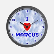 I Love Marcus (Blue) Valentine Wall Clock