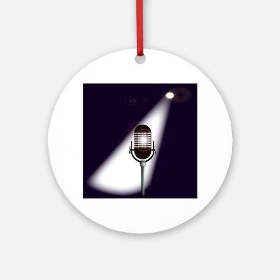 Retro Microphone Round Ornament