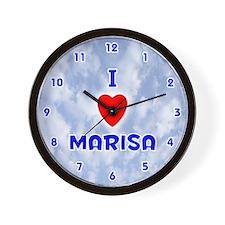 I Love Marisa (Blue) Valentine Wall Clock