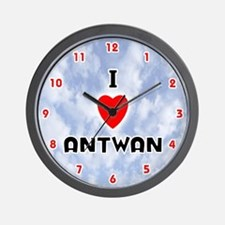 I Love Antwan (Red/Blk) Valentine Wall Clock