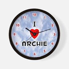 I Love Archie (Red/Blk) Valentine Wall Clock