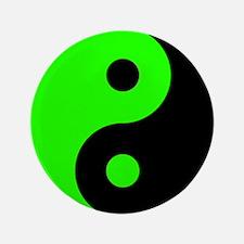 Green Yin Yang Symbol Button