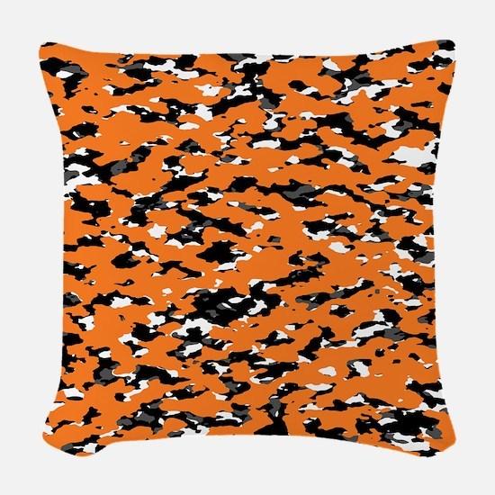 Camouflage: Orange I Woven Throw Pillow