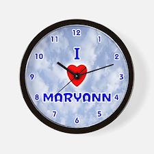I Love Maryann (Blue) Valentine Wall Clock