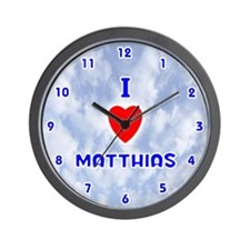 I Love Matthias (Blue) Valentine Wall Clock