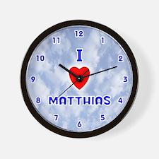 I Love Matthias (Blue) Valentine Wall Clock