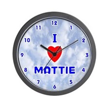 I Love Mattie (Blue) Valentine Wall Clock