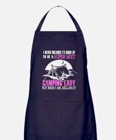 Cute Girl camping Apron (dark)